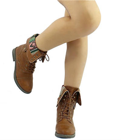 Qupid Seattle-01X Cognac Tribal Cuff Military Lace up Boots-2035