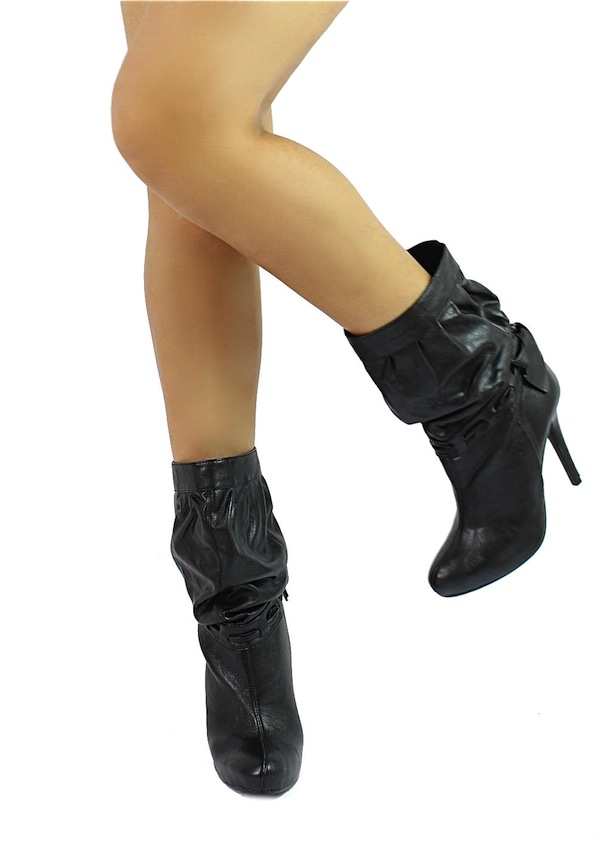 Delicious Black Updo-S Medium Calf Slouchy Dress Heels Boots-0