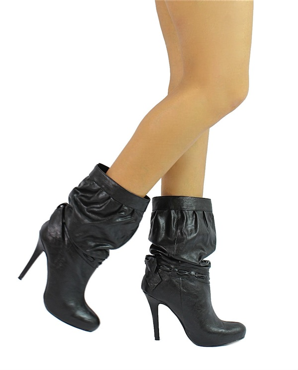 Delicious Black Updo-S Medium Calf Slouchy Dress Heels Boots-1705