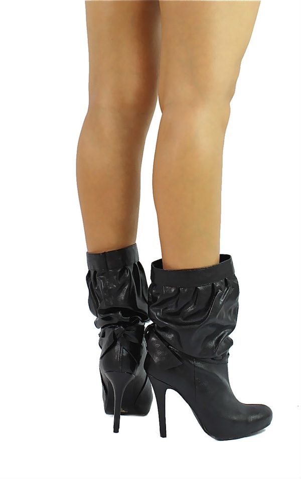 Delicious Black Updo-S Medium Calf Slouchy Dress Heels Boots-1704
