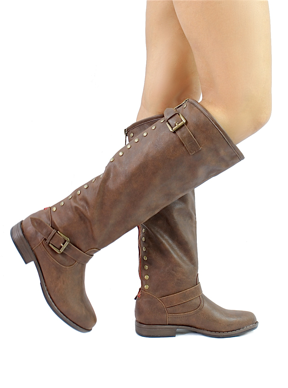Bamboo Montage-83 Brown Studded Contrast Zipper Knee Heigh Riding Boots-927