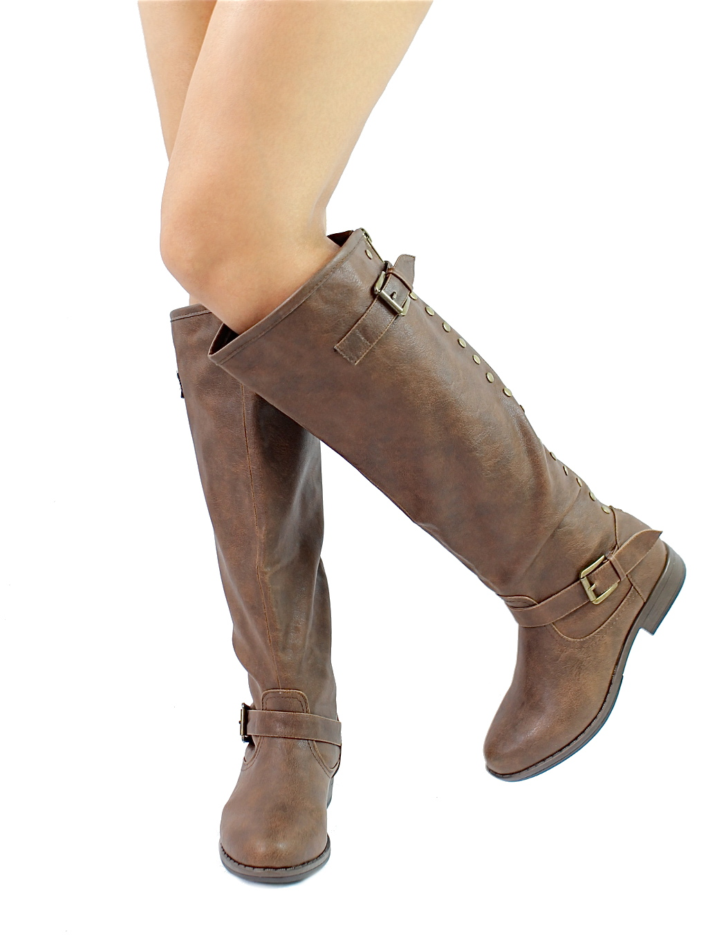 Bamboo Montage-83 Brown Studded Contrast Zipper Knee Heigh Riding Boots-929