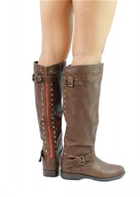 Bamboo Montage-83 Brown Studded Contrast Zipper Knee Heigh Riding Boots-0