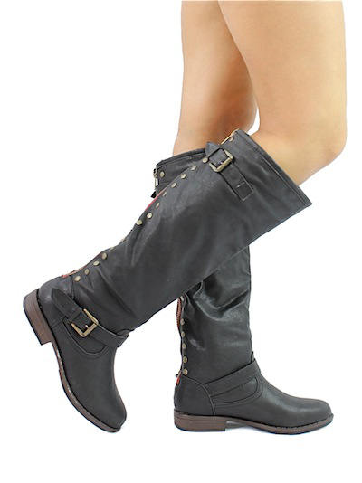 Bamboo Montage-83 Black Studded Contrast Zipper Knee Heigh Riding Boots-2013