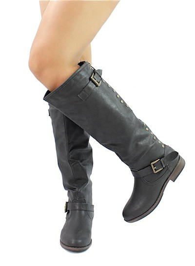 Bamboo Montage-83 Black Studded Contrast Zipper Knee Heigh Riding Boots-2012