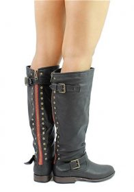 Bamboo Montage-83 Black Studded Contrast Zipper Knee Heigh Riding Boots-0