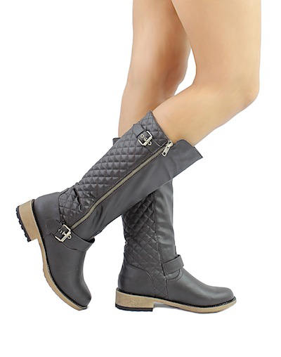 Qupid Relax-114X Brown Buckle Quilted Knee height Riding Boots-0