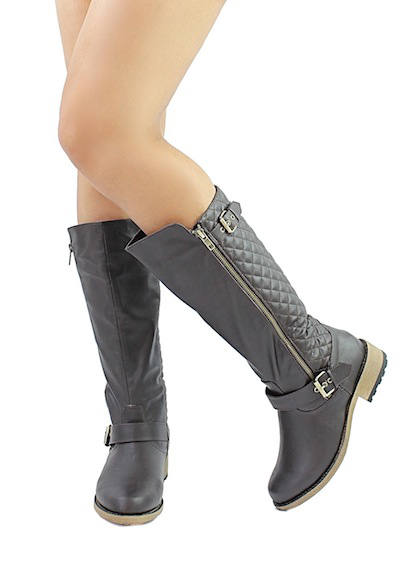 Qupid Relax-114X Brown Buckle Quilted Knee height Riding Boots-2021