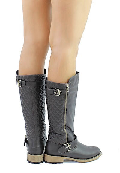 Qupid Relax-114X Brown Buckle Quilted Knee height Riding Boots-2022