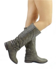 Qupid Vance-11 Khaki Round Toe Knee High Riding Boots-0