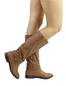 Qupid Vance-11 Cognac Round Toe Knee High Riding Boots-0