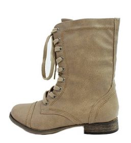 Breckelle's Georgia-21 Beige mid calf Lace Up military Boots-0