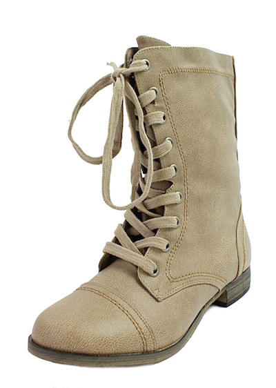Breckelle's Georgia-21 Beige mid calf Lace Up military Boots-1975