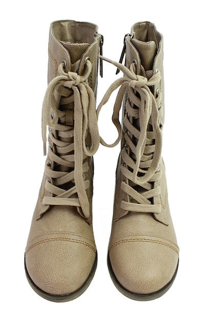 Breckelle's Georgia-21 Beige mid calf Lace Up military Boots-1977