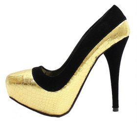 Qupid Ready-04 Gold Snake pattern Pointy toe Pumps-0