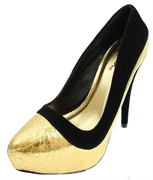 Qupid Ready-04 Gold Snake pattern Pointy toe Pumps-1948
