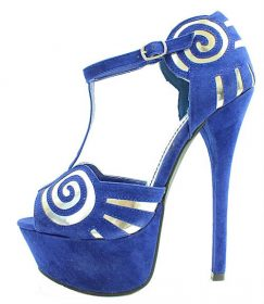 Alba Milly Blue T-Strap Swirl Suede Platform Open toe Sandals-0
