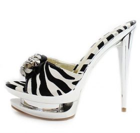 Open Toe Carved Zebra Platform High Heels Sandals-0