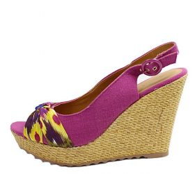 Qupid Irena-05 Fuchsia Open Toe Canvas Platform Wedge Sandals-0