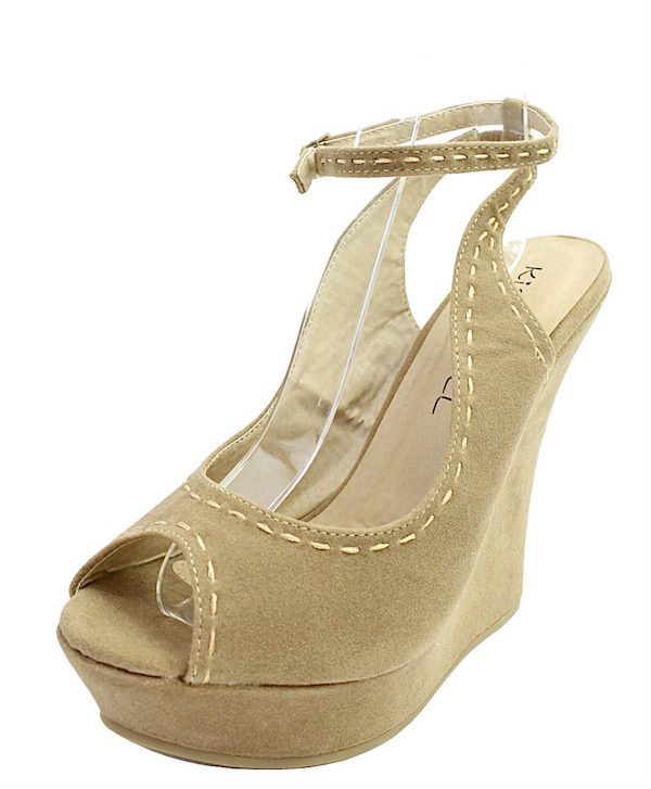Kiss and Tell Sydney-06 Sand Platform Open Toe Wedge Sandals-1824
