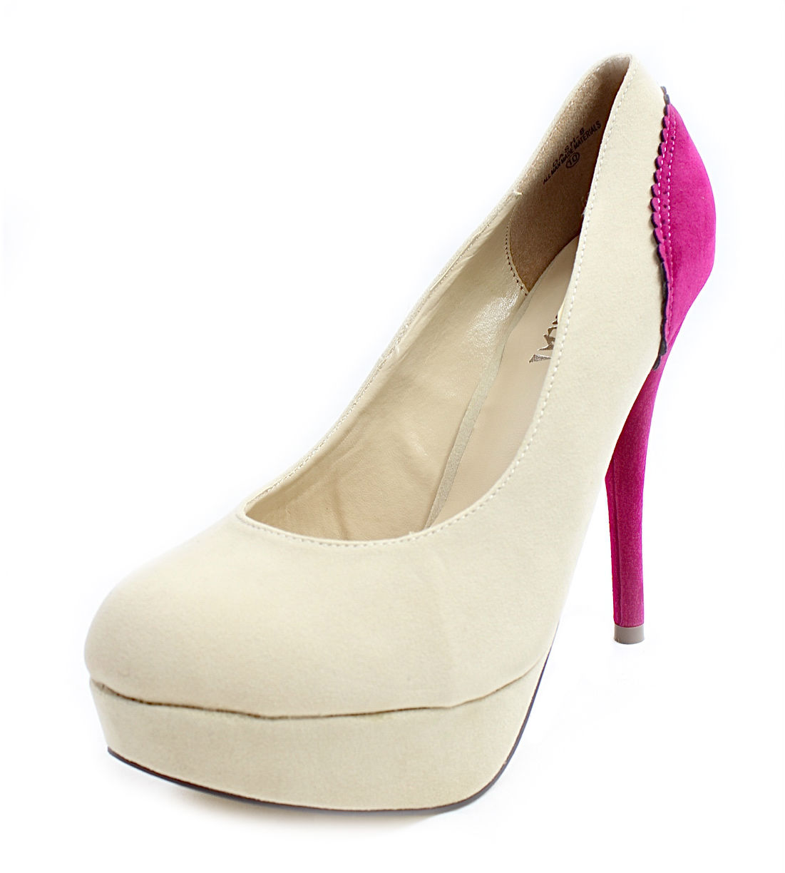 Machi Dash-08 Beige Almond Toe Dress Platform Pumps -1467
