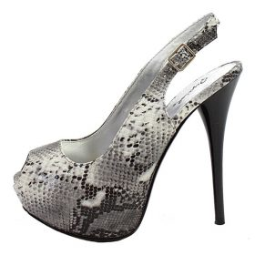 Qupid Neutral-53 Gray Snake Dress Open Toe Platform Pumps -0