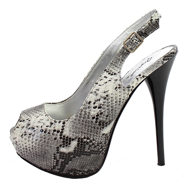 8ea1ea2281d Qupid Neutral-53 Gray Snake Dress Open Toe Platform Pumps -0