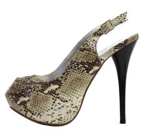 Qupid Neutral-53 Bone Snake Dress Open Toe Platform Pumps -0