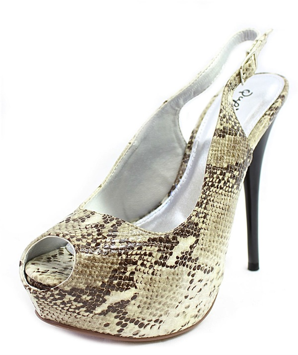 Qupid Neutral-53 Bone Snake Dress Open Toe Platform Pumps -1691