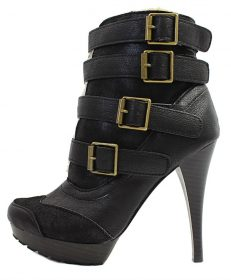 Qupid Mange-13 Black Buckle Almond Toe Platform Dress Bootie Boots-0