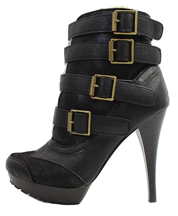 Qupid Mange-13 Black Buckle Almond Toe Platform Dress Bootie Boots-0