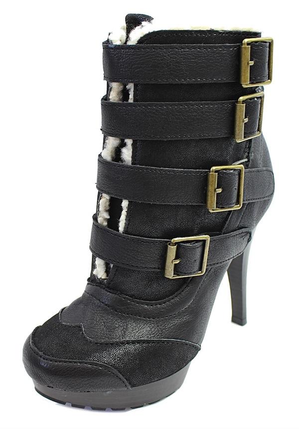 Qupid Mange-13 Black Buckle Almond Toe Platform Dress Bootie Boots-1686