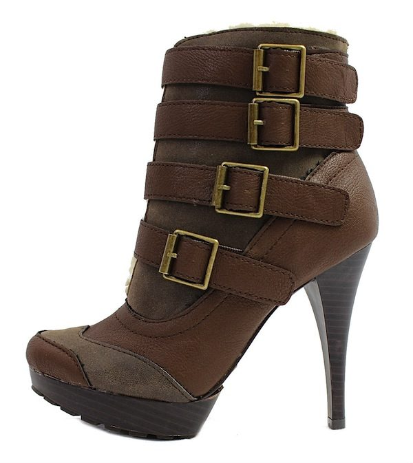 Qupid Mange-13 Brown Buckle Almond Toe Platform Dress Bootie Boots-0
