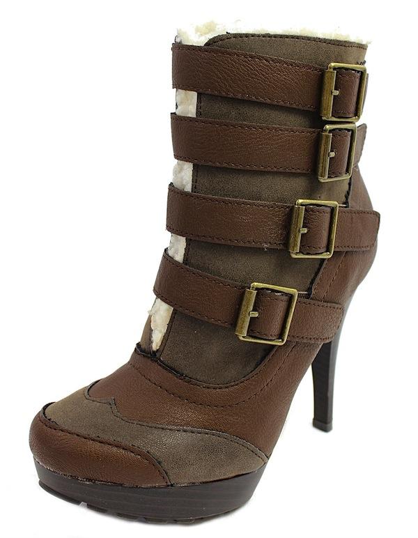 Qupid Mange-13 Brown Buckle Almond Toe Platform Dress Bootie Boots-1682