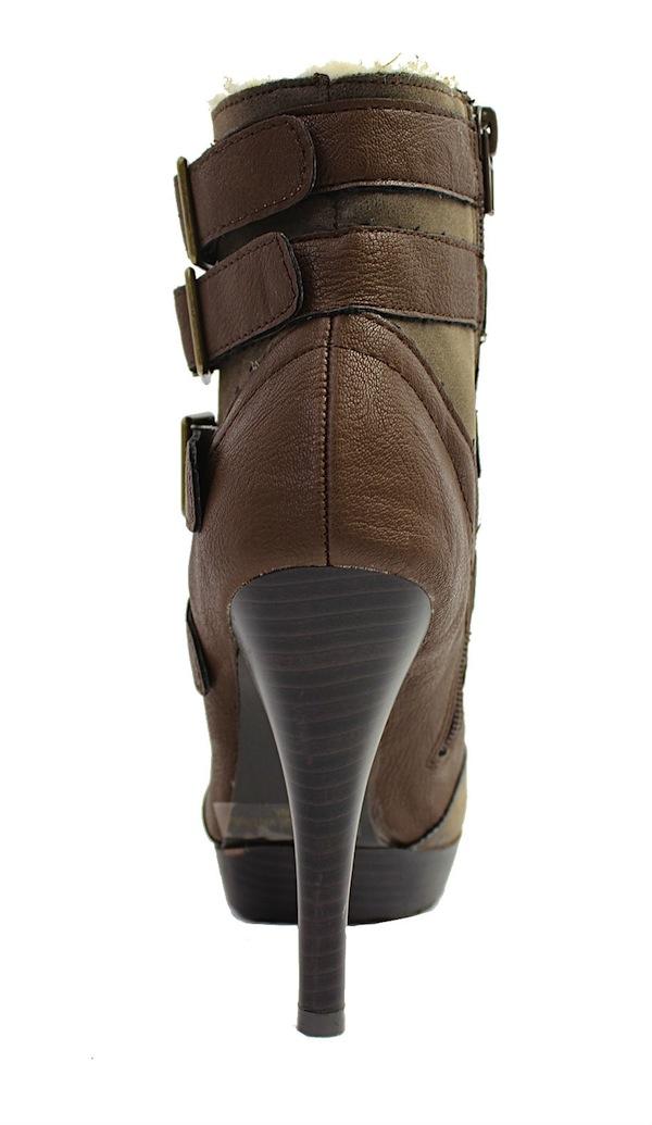 Qupid Mange-13 Brown Buckle Almond Toe Platform Dress Bootie Boots-1683