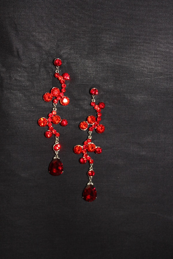 Red Dangle Crystal Earrings-0