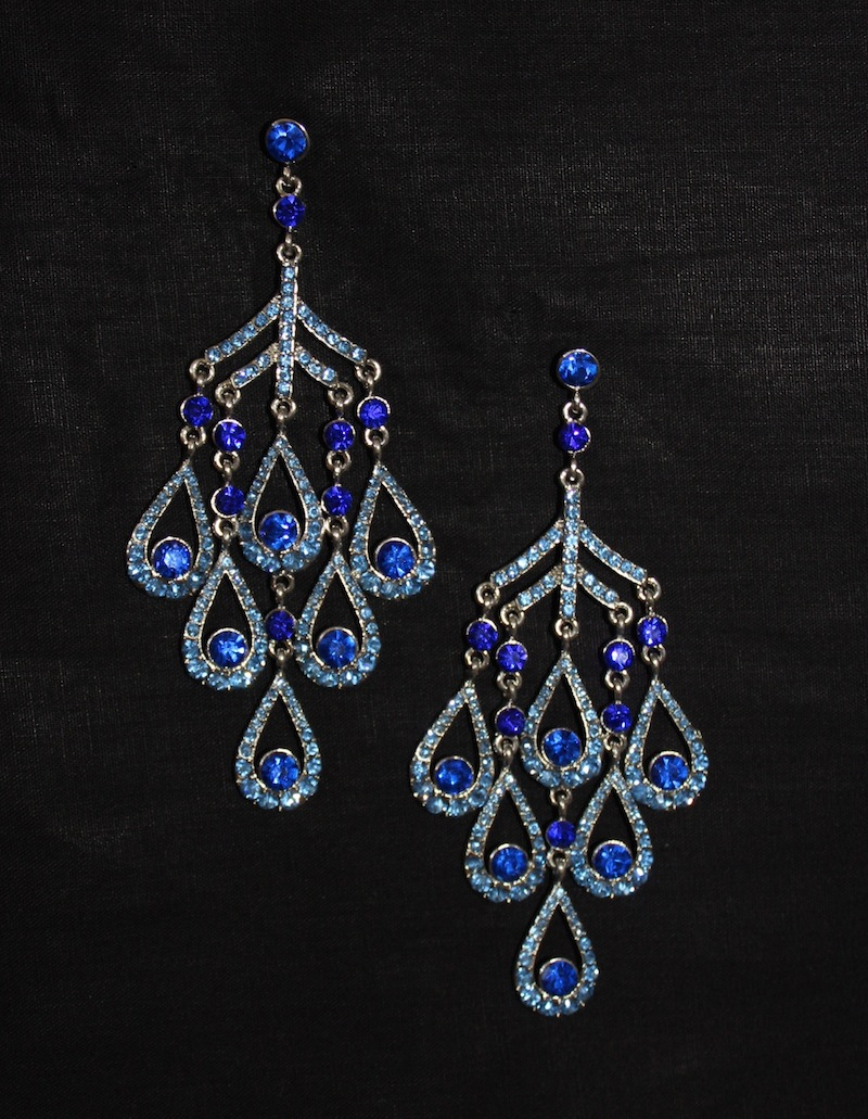 2 tone teardrop Blue jewel Dangle Crystal Earrings-0
