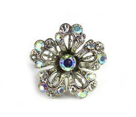 Rhinestone Flower Crystal Ring-0