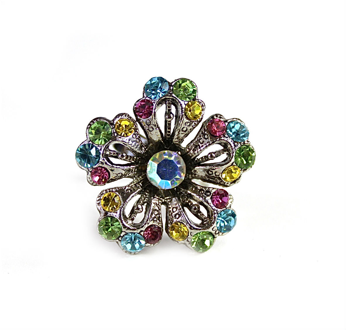 Rhinestone Flower Crystal Ring-0