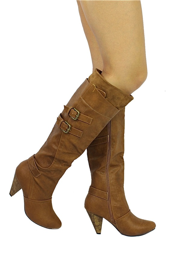 Wild Diva Chestnut Merton-08 Buckle Round Toe Knee High Boots -0