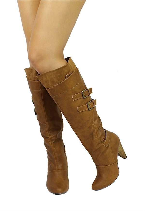 Wild Diva Chestnut Merton-08 Buckle Round Toe Knee High Boots -1735