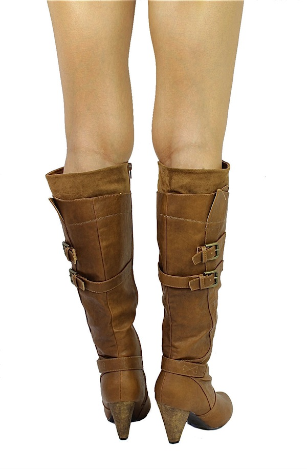 Wild Diva Chestnut Merton-08 Buckle Round Toe Knee High Boots -1733