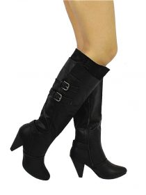 Wild Diva Black Merton-08 Buckle Round Toe Knee High Boots -0