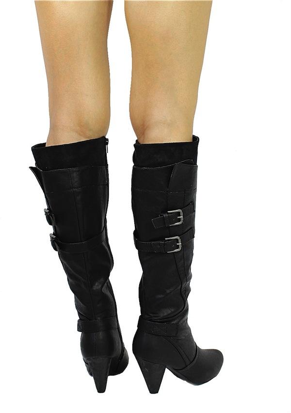 Wild Diva Black Merton-08 Buckle Round Toe Knee High Boots -1732