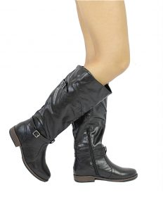 Bamboo Montage-78 Black Buckle Round Toe Knee Heigh Riding Boots-0