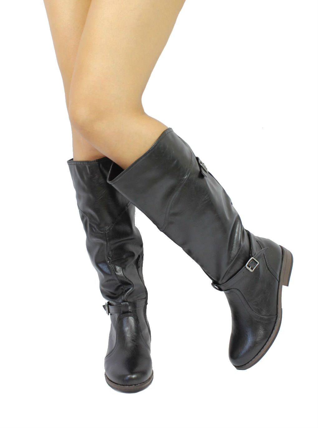 Bamboo Montage-78 Black Buckle Round Toe Knee Heigh Riding Boots-1654