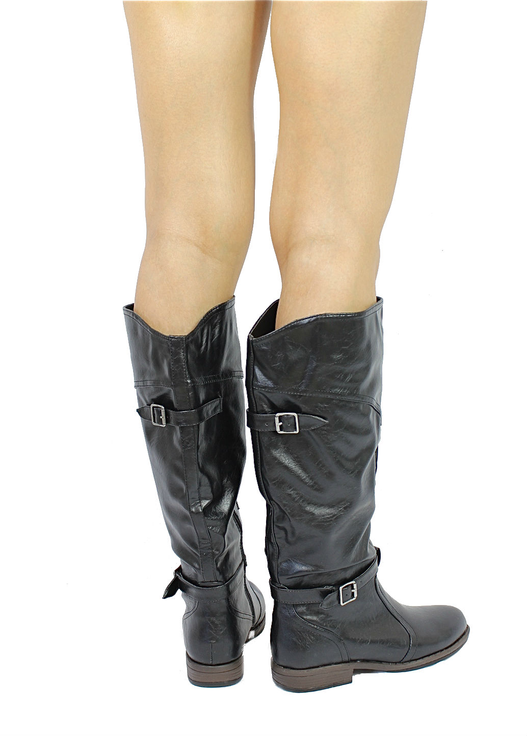 Bamboo Montage-78 Black Buckle Round Toe Knee Heigh Riding Boots-1655