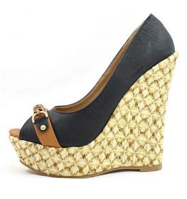 Boney-1 Straw Woven Black Platform Wedge -0