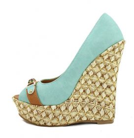 Boney-1 Straw Woven Blue Platform Wedge -0