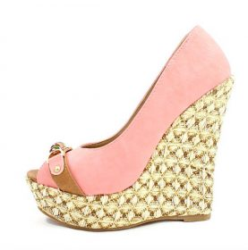 Boney-1 Straw Woven Pink Platform Wedge -0